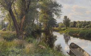 Обои Летний Пейзаж, река, природа, Peder Mørk Mønsted, Петер Мёрк Мёнстед, лодка, картина