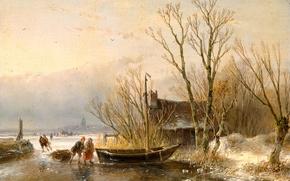 Картинка пейзаж, дерево, масло, картина, Андреас Схелфхаут, Сборщики Хвороста