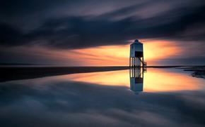 Картинка Бернем-он-Си, море, Англия, тучи, маяк