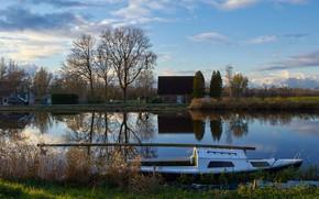 Картинка небо, облака, деревья, река, берег, лодка, дома, Нидерланды, Assendelft