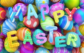 Обои colorful, Easter, яйца, Пасха, holidays, happy, design, eggs, графика