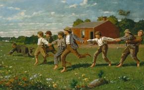 Обои Уинслоу Хомер, Winslow Homer, дети, Привяжи Кнут, игра, картина