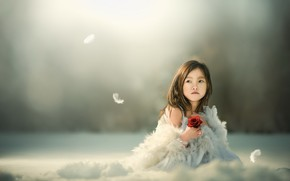 Картинка цветок, фон, девочка, азиатка
