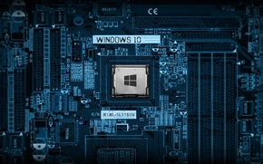 Обои processor, wallpaper, tecnology, windows 10, desktop, blue, windows logo