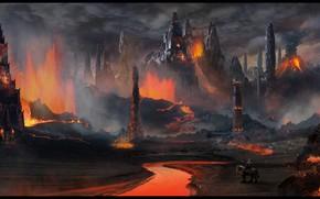 Картинка скалы, лава, башни, всадник, Volcanic Temple