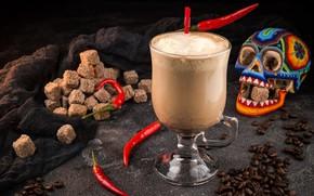 Картинка бокал, череп, кофе, сахар, перец