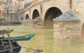 Картинка река, дома, картина, городской пейзаж, Фриц Таулов, Frits Thaulow, Мост Мари. Париж