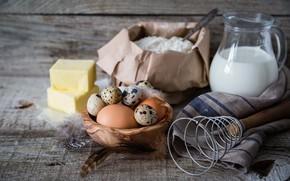 Картинка стол, яйцо, масло, молоко, выпечка, background, мука, Baking, ingredients, ингредиент