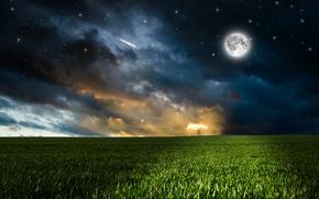 Обои облака, трава, небо, ночь, поле, зелень, фотошоп, луна, звёзды