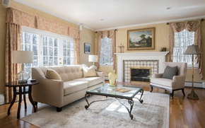 Обои шторы, камин, кресло, столик, гостиная, диван, стиль