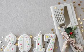 Картинка свечи, Новый Год, нож, вилка, new year, happy, candles, 2017