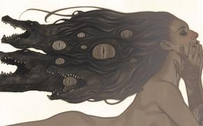 Обои глаза, тату, Crocodiles, naked, beauty, Волосы, hair, Сказания, Крокодилы, Девушка, Vertigo, татуировкка, brunette, eyes, girl, ...