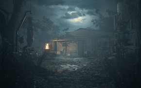 Картинка girl, zombie, house, game, woman, dead, night, Resident Evil, survivor, Umbrella, death, DLC, Biohazard, Key, …