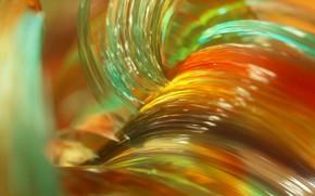 Обои стекло, макро, линии, краски, объем