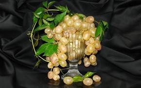 Картинка виноград, натюрморт, вазочка