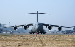 Обои cargo and transport aircraft, military, aircraft, air force, Boeing C-17 Globemaster III, 001