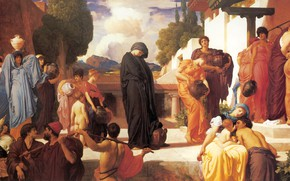 Картинка люди, площадь, древность, античность, Frederic Leighton, Captive Andromache