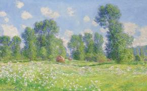 Картинка пейзаж, природа, картина, Claude Monet, Клод Моне, Весенний Эффект в Живерни