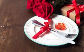 Картинка подарок, сердце, Valentine's Day, вилка, сердечки, любовь, romantic, цветок, роза, нож, свеча, сервировка, love