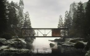 Картинка лес, горы, дизайн, строение, водоём, 1964, Weekend House Project, Craig Ellwood