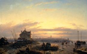 Картинка пейзаж, дом, лодка, масло, Зима, картина, холст, Шарль Лейкерт