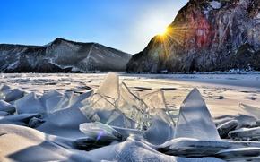 Картинка солнце, снег, горы, лёд, озеро Байкал