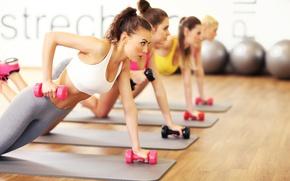 Картинка floor, gym, Fitness, class, dumbbells