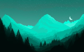 Картинка green, minimal, dark, light, moon, forest, background, mountains, view, fog, photoshop, good, paper, cool, best, …
