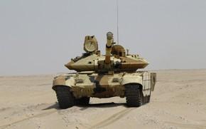 Обои песок, танк, броня, ОБТ, Прорыв, Т-90 МС, УВЗ, оружие России