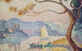 Картинка пейзаж, башня, картина, Антиб, Поль Синьяк, пуантилизм, Antibes. the Small Port of Bacon