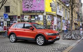 Картинка Авто, Германия, Volkswagen, Машина, Car, Автомобиль, Auto, Germany, New, Фольксваген, Тигуан, Tiguan, 2016, Poster, 4motion