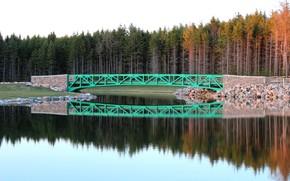 Картинка Природа, Осень, Озеро, Деревья, Лес, Nature, Fall, Bridge, Autumn, Мостик, Отражения, Lake, Forest, Trees