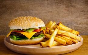 Обои салат, картофель фри, котлета, гамбургер, сыр
