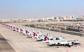 Картинка Небо, Лето, Лайнер, Аэропорт, Самолёт, Пассажирский, Airbus, Аэробус, Qatar, Катар, Qatar Airways, A-320, A320, А-320, ...