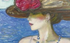 Картинка море, 2006, шляпа, бусы, Памела, Современная французская живопись, Жан-Пьер Кассиньоль