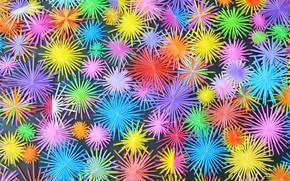 Обои звезды, снежинки, фон, краски, яркие, цвет, colorful, background