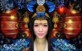 Обои девушка, украшения, цветы, японка