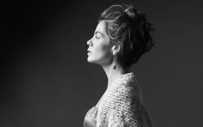 Картинка фон, портрет, макияж, актриса, прическа, профиль, черно-белое, Мишель Монахэн, Michelle Monaghan, кофта, Who What Wear, …