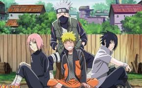 Картинка Naruto, anime, ninja, team 7, Uchiha Sasuke, shinobi, japanese, Hatake Kakashi, Haruno Sakura, Naruto Shippuden, …