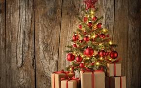 Обои xmas, Рождество, шары, christmas tree, елка, доски, balls, украшения, gifts, шарики, decoration, wood, ёлка, merry ...