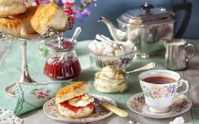 Обои чай, завтрак, чайник, чашка, сахар, варенье, булочки, пироженое