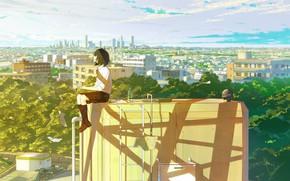 Картинка небо, девушка, солнце, облака, свет, деревья, город, дома, аниме, арт, школьница, одна, loundraw