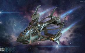 Картинка космос, туманность, звёзды, аппарат, some ship