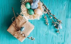 Картинка ветки, подарок, яйца, весна, Пасха, wood, верба, blue, gift, spring, Easter, eggs, decoration, Happy, tender