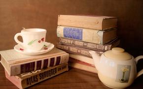 Картинка Чашка, Посуда, Книги, Чайник, Books