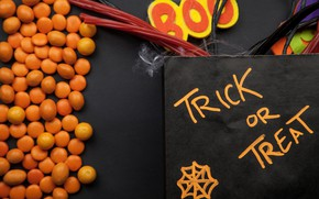 Картинка праздник, надпись, конфеты, хэллоуин