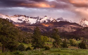 Обои тучи, горы, Colorado, деревья, панорама, San Juan Mountains, облака, небо, долина, лес, США