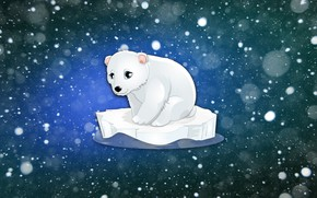 Обои Фон, Медвежонок, Рисунок, Белый медведь, Минимализм, Льдина, Зима, Медведь, Снег