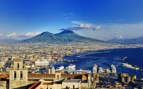 Картинка city, город, Италия, Italy, coast, panorama, Europe, view, cityscape, Naples, Неаполь, travel