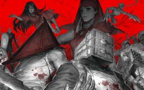 Картинка red, blood, club, Resident Evil, assasin, machete, monsters, Silent Hill, Biohazard, hood, Slenderman, barbed wire, …